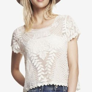[Express] Baroque Lace Ivory Tee